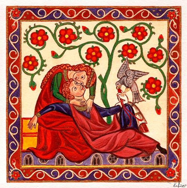 Federico II di Svevia insieme a Bianca Lancia