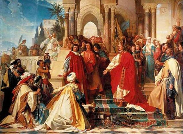 """Un quadro che ritrae Federico II che riceve gli ambasciatori del Sultano al-Malik al-Kamil. Tale """"amicizia"""" col mondo musulmano fu uno dei motivi della sua scomunica"""