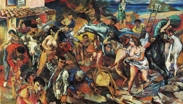 Fuga dall'Etna, opera di Renato Guttuso (olio su tela, 1940) - Galleria Nazionale d'Arte moderna, Roma