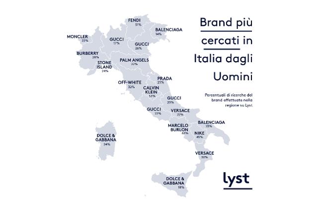 Fashion Geography - Brand più cercati in Italia dalle Uomini