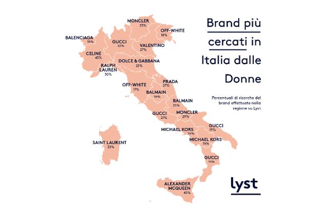Fashion Geography - Brand più cercati in Italia dalle Donne