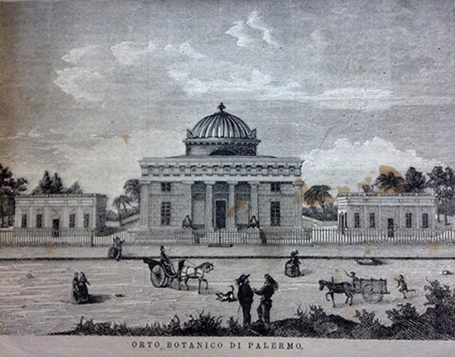 """Il Ginnasio dell'Orto Botanico di Palermo. Stampa tratta da una copertina de """"La Settimana Illustrata"""" del 1867."""