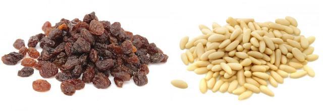 Uva passa e pinoli (pignola e passulina)