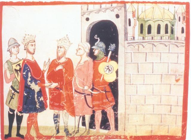 Federico II incontra il Sultano al-Malik al-Kamil durante la Sesta crociata (miniatura dalla Nova Cronica)