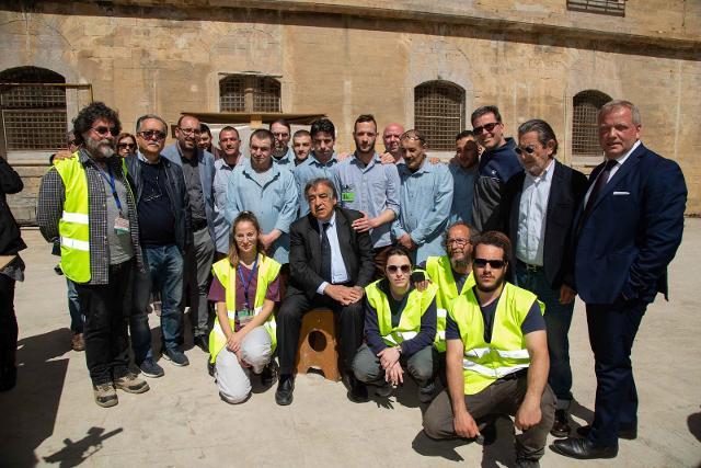 Il sindaco di Palermo, Leoluca Orlando, durante la presentazione dell'avvio ai lavori all'Ucciardone