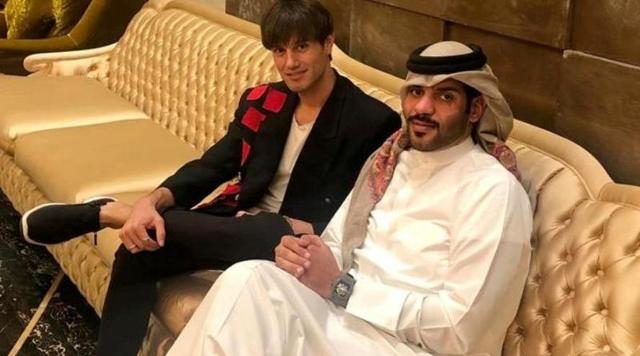 Marco Castelli con lo sceicco del Qatar