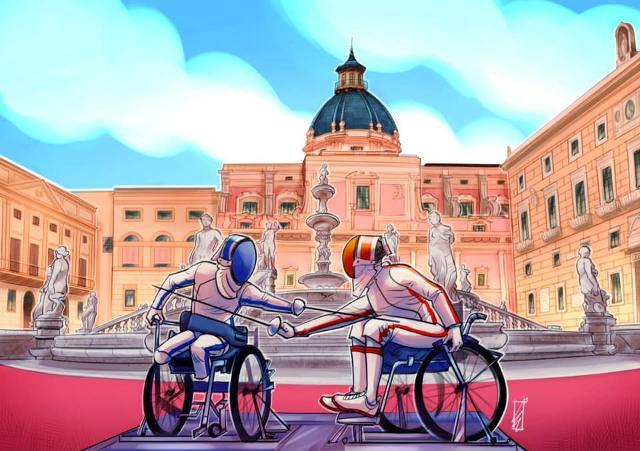 Palermo Capitale della Scherma - vignetta di Ludovico Lo Cascio