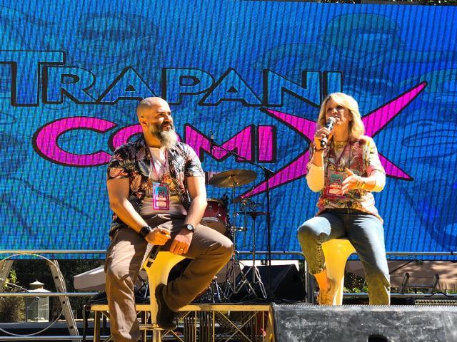 Don Alemanno e Ornella Fulco durante la conferenza stampa a Trapani Comix