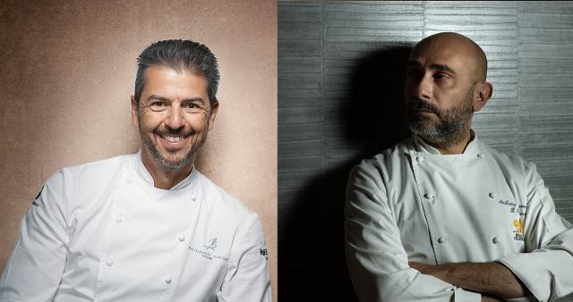 Gli chef stellati Andrea Berton ed Anthony Genovese
