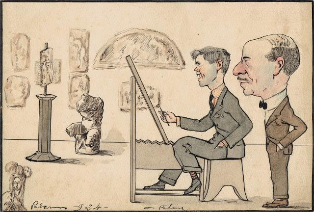 Autocaricatura con il Prof. Gregorietti, 1924, inchiostro e acquerello su carta