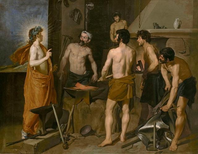 """""""La fucina di Vulcano"""" di Diego Velázquez. Il Prado, Madrid"""