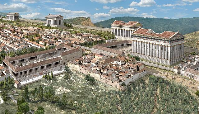 Una ricostruzione di come doveva essere Agrigento, la Valle degli Dei o Akragas,  ai tempi della sua fondazione - ph archeolibri.com