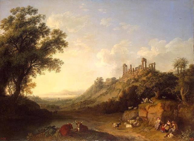 La Valle dei Templi dipinta da Jakob Philipp Hackert
