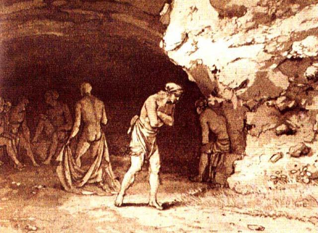 Antica incisione che rappresenta la Grotta Stufa di Monte San Calogero