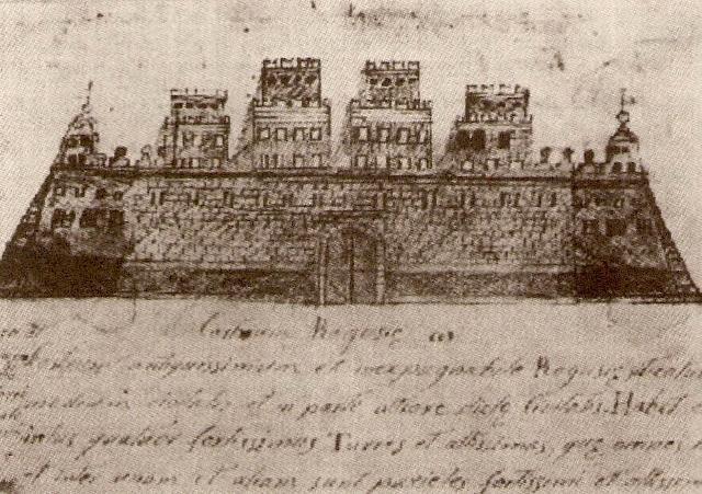 Il Castello dei Conti di Ragusa in un disegno di anonimo del 1600
