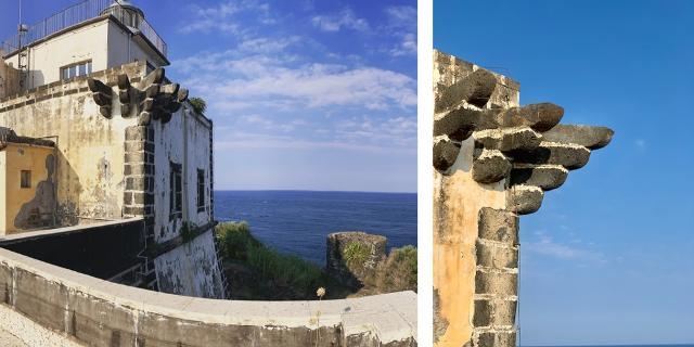 Il Faro di Capo Mulini e un dettaglio di esso