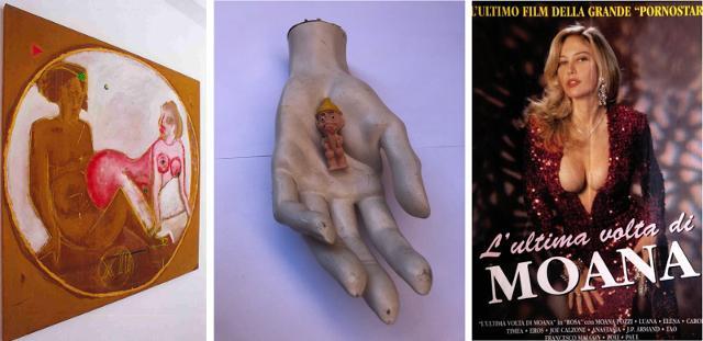 """Da sinistra: """"Sfintria n° 12"""" di Franco Castiglione, un'Opera di Renato Lipari e l'ultimo manifesto cinematografico di Moana Pozzi"""