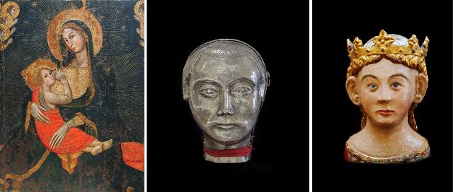 """Alcuni dei pezzi in mostra. Da sinistra: """"Madonna dell'Umiltà"""", """"Reliquiario del capo del Beato Gerlando Alemanna"""" e """"Reliquiario del capo di Sant'Orsola""""."""