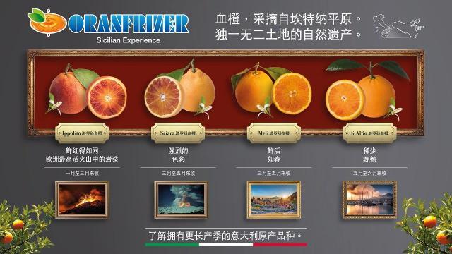 La collezione di arance rosse prodotte in Italia da Oranfrizer che sarà presentata in Cina