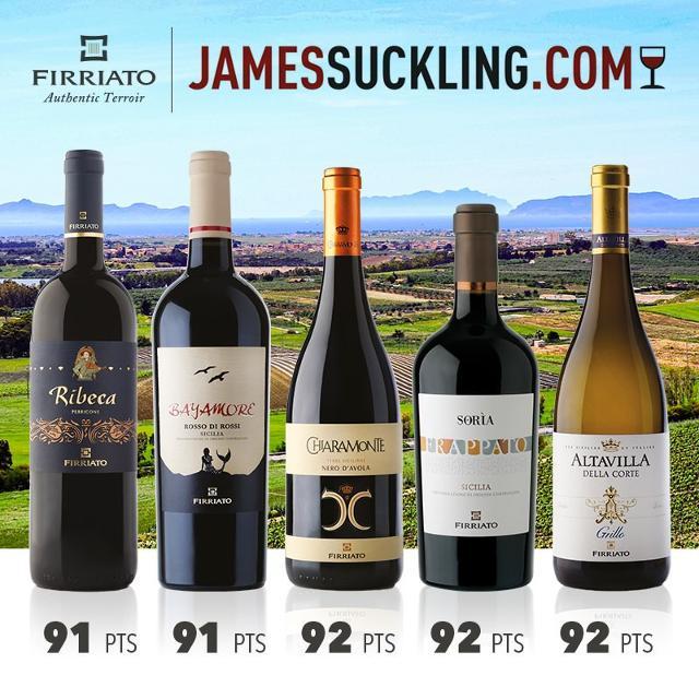 I punteggi di James Suckling ai vini Firriato dell'Agro di Trapani