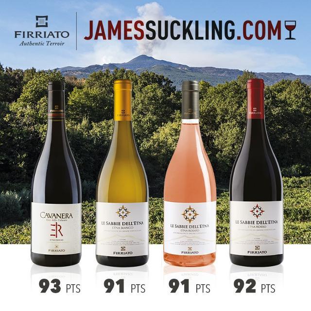 I punteggi di James Suckling ai vini Firriato dell'Etna