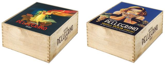 Cassette di legno con coperchio di latta che riproducono alcuni dei poster storici più rappresentativi dei 140 anni di attività della famiglia Pellegrino