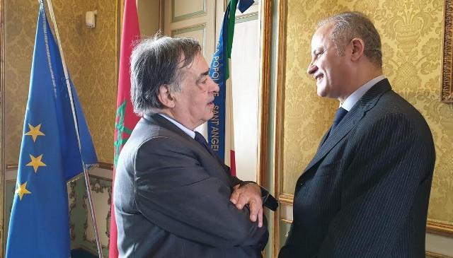 Il sindaco di Palermo Leoluca Orlando e l'Ambasciatore del Marocco in Italia, S. E. Youssef Balla