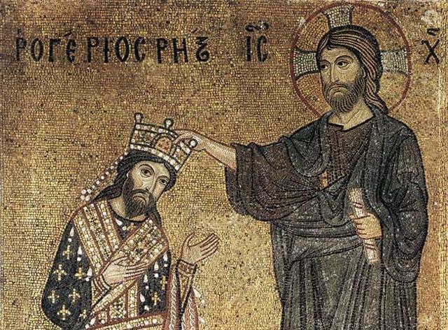 Ruggero riceve la corona da Cristo, mosaico presso la Chiesa della Martorana