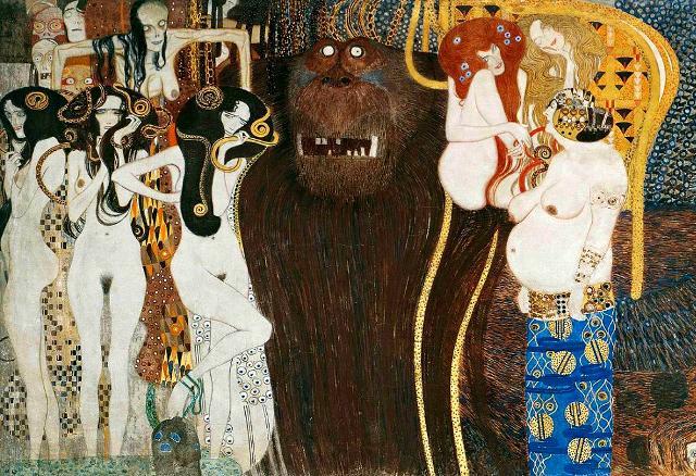 """Gustav Klimt rappresentò Tifeo come un gigantesco scimmione nel """"Fregio di Beethoven"""", custodito a Vienna presso il Palazzo della Secessione. Esso si trova nel pannello de """"Le forze ostili"""". Nel particolare si vede il gigante Tifeo e le sue figlie, le tre Gòrgoni: la malattia, la follia, la morte, da una parte. Dall'altra, la volontà, la lussuria e l'eccesso. L'angoscia che rode. In alto le affezioni e i desideri degli uomini che volano via."""