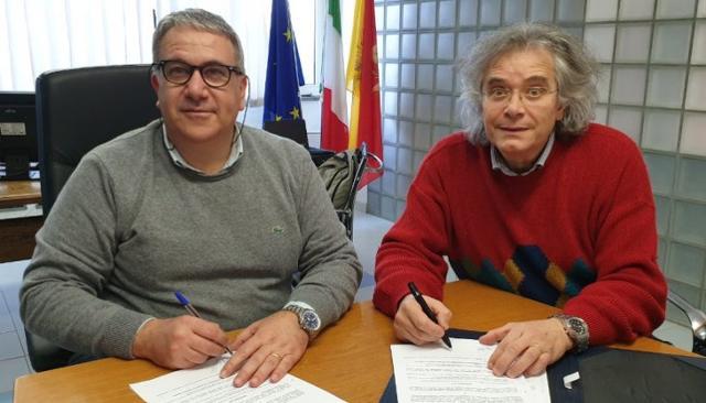 Giuseppe Di Miceli (a sinistra) presidente Ersu di Palermo e Pippo Gigliorosso. presidente dell'Associazione Eikona Film - Piano Focale