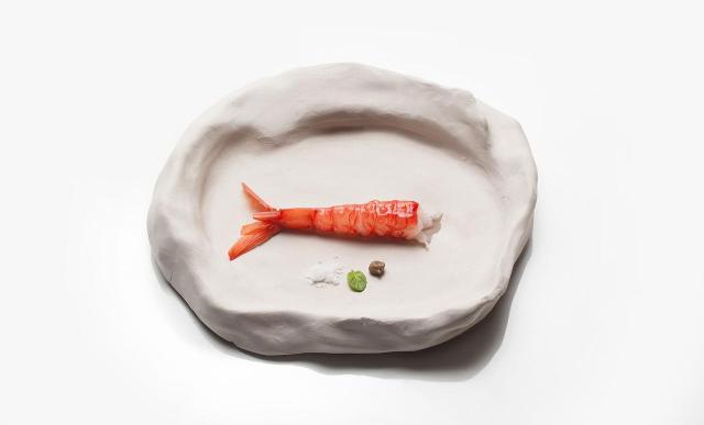 """Piatto """"sasso"""" di Peppino Lopez per lo chef Pietro D'Agostino"""