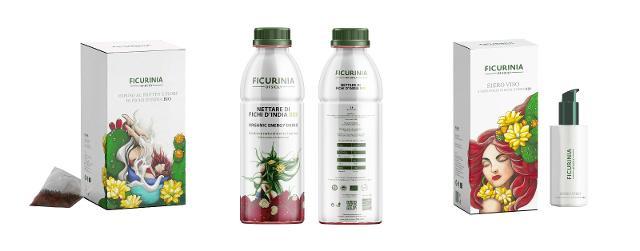 """Alcuni prodotti """"Ficurinia"""". Da sx: l'infuso ai fiori e frutti, il nettare e il siero per il viso di fichi d'India DOP dell'Etna biologici"""