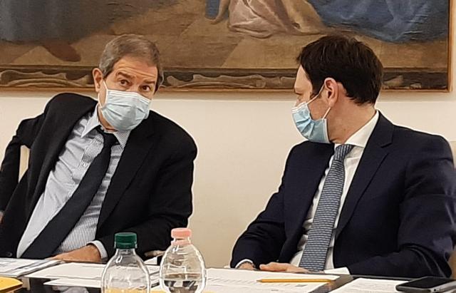 Il presidente della Regione Siciliana Nello Musumeci e l'assessore alla Salute Ruggero Razza