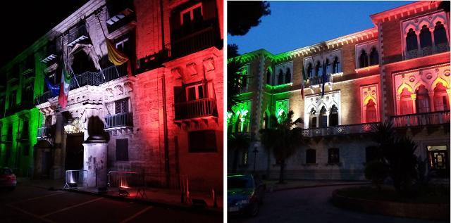 Palazzo d'Orlèans e Villa Whitaker illuminati con i colori del Tricolore