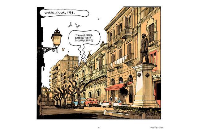 Una vignetta della tavola disegnata da Paolo Bacilieri