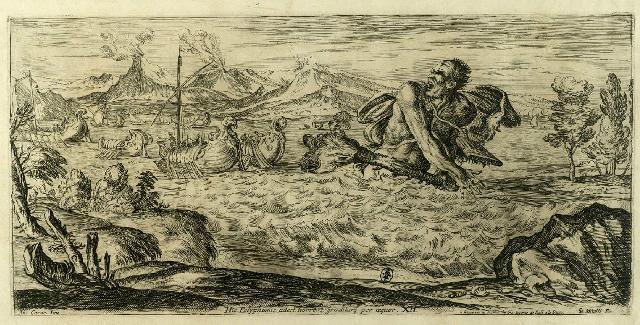Polifemo che insegue la flotta di Enea - Acquaforte di Giuseppe Maria Mitelli (1663)