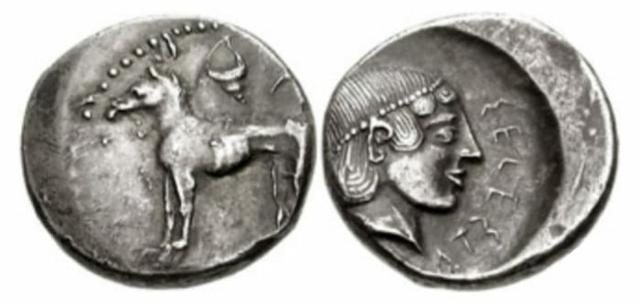 Moneta greca con l'effige del Cirneco